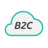 Isolated cloud icon with    the text B2C