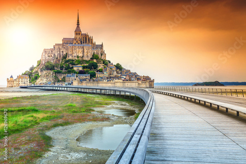 Poster Amazing historc Mont Saint Michel tidal island with bridge,France