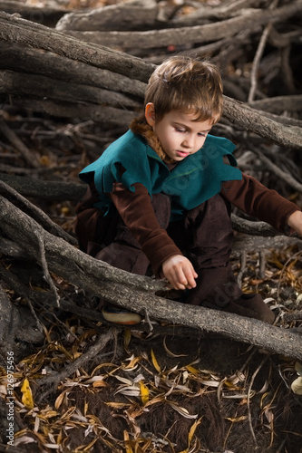 Poster A young boy in a Robin Hood costume in autumn forest