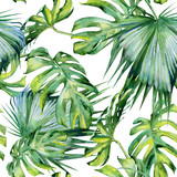 Fototapety Seamless watercolor illustration of tropical leaves, dense jungle. Hand painted. Banner with tropic summertime motif may be used as background texture, wrapping paper, textile or wallpaper design.