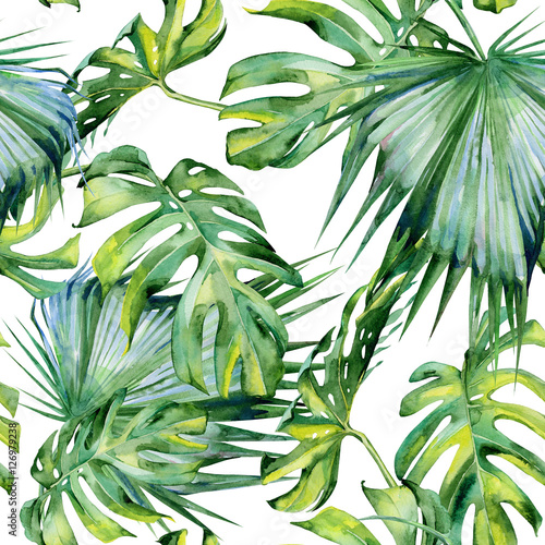 Seamless watercolor illustration of tropical leaves, dense jungle. Hand painted. Banner with tropic summertime motif may be used as background texture, wrapping paper, textile or wallpaper design. © annaveroniq