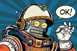 retro robot astronaut gesture OK