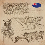 New Zealand. Pictures of Life. Vector pack. Hand drawings. - 126986899