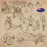 New Zealand. Pictures of Life. Vector pack. Hand drawings. - 126987044