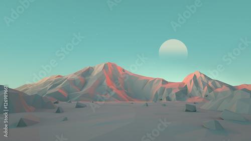 Low-Poly Desert Mountain Landscape