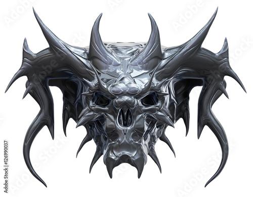 Poster Metallic skull design isolated on white background