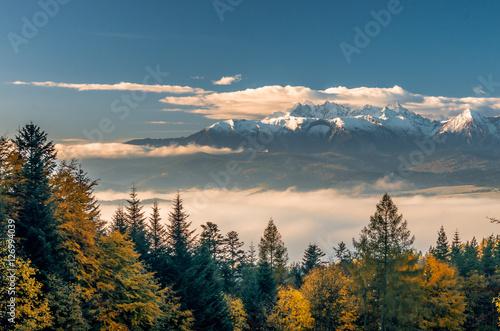 Fototapeta Beautiful autumn panorama over colorful autumn Pieniny mountains to snowy Tatra mountains, Poland