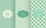 Fototapety Retro mint and emerald vector seamless patterns