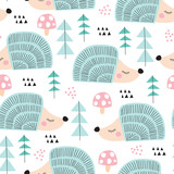 seamless hedgehog in the forest pattern vector illustration