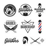 Fototapety Barber shop badges set. Vector vintage illustration.