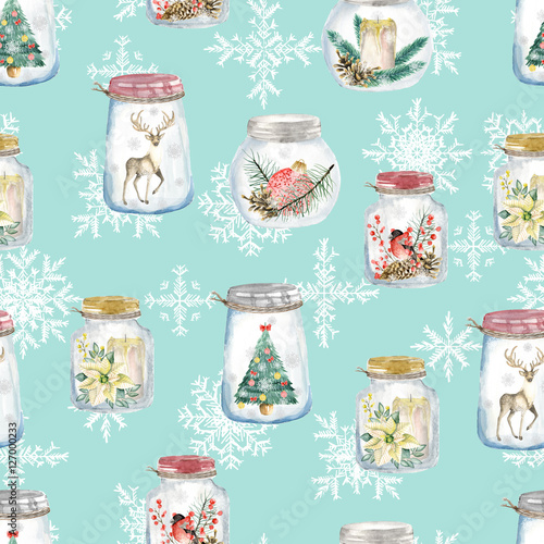 Cotton fabric Seamless pattern with Christmas glass jars