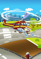 Cartoon stage with different machines for firefighting - helicopter - colorful and cheerful scene - illustration for children