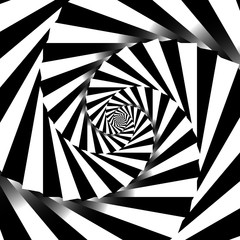 Rotating spiral grayscale geometric background - Abstract patter