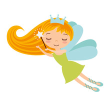 Cute Fairy Godmother Character  Illustration Design Sticker