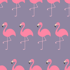 Seamless Pattern Flamingo Exotic tropical bird. Zoo animal collection. Cute cartoon character. Decoration element. Violet background. Flat design.