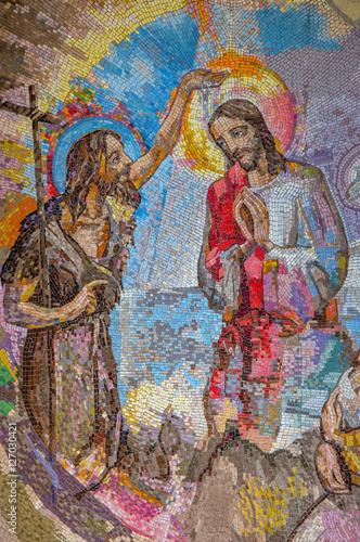 Naklejka MEDJUGORJE, BOSNIA AND HERZEGOVINA, 2016. Mosaic of the baptism of Jesus Christ by Saint John the Baptist as the first Luminous mystery.