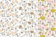 Seamless pattern with cartoon animals with flowers.