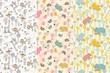 Cute hand draw seamless pattern with animal