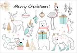 Christmas hand drawn doodle cartoon set