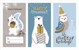 Set of Christmas cards with cute little squirrel, bear and owl