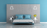Blue and gray master bedroom