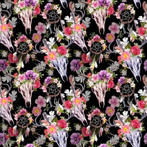 Deer skulls, flowers, dream catchers - dreamcatcher. Seamless pattern. Watercolor - 127043876
