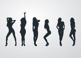 Icono plano siluetas de mujeres desnudas sobre fondo degradado