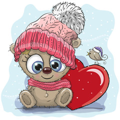 Cute Cartoon Teddy in a knitted cap