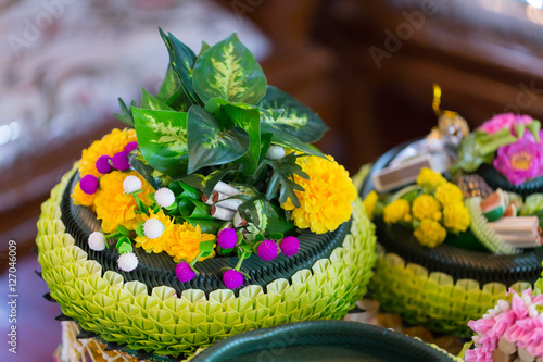 Poster Equipment and many kinds of flowers put together a traditional ceremony in Thailand