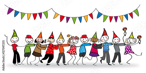 fröhliche Gruppe tanzt auf Feier - Illustration