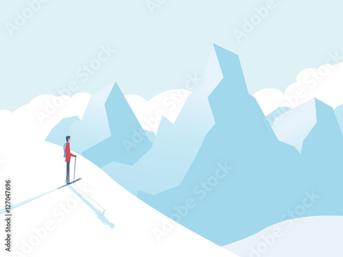 fototapeta na ścianę Skiing in mountains vector illustration with skier and high peaks in background. Winter sports landscape.