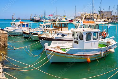 Fishing boats in the old port of Heraklion. Crete, Greece. Landmark of Greece.