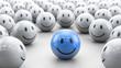 blauer 3D Smiley in Gruppe - Konzept beliebt, erfolgreich, Kreativität.