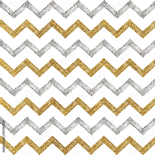 Seamless pattern of silver gold zigzag chevron, seamless background of zig zag stripe, hand painted vector pattern for textile, wallpaper, web, wrapping, save the date, wedding, card, paper - 127060014