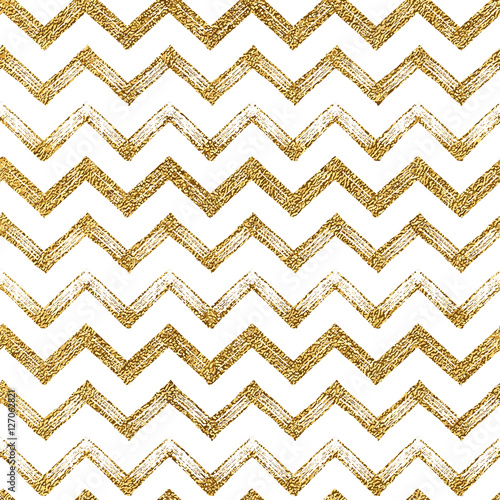 Seamless pattern of gold glitter zigzag chevron, seamless background of golden zig zag stripes, hand drawn vector illustration for textile, wallpaper, web, wrapping, save the date, wedding, card - 127062821