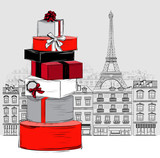 Fashion Big pile of wrapped gift boxes on Paris city background