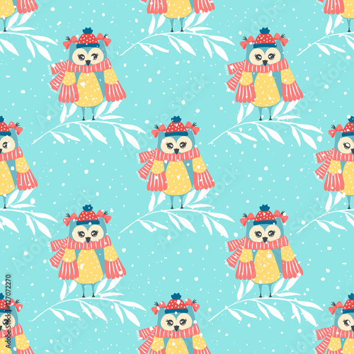 Papiers peints Hibou Beautiful seamless wallpaper with owls