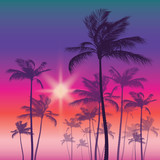 Silhouette of palm tree and sunset sky. Vector illustration - 127074205