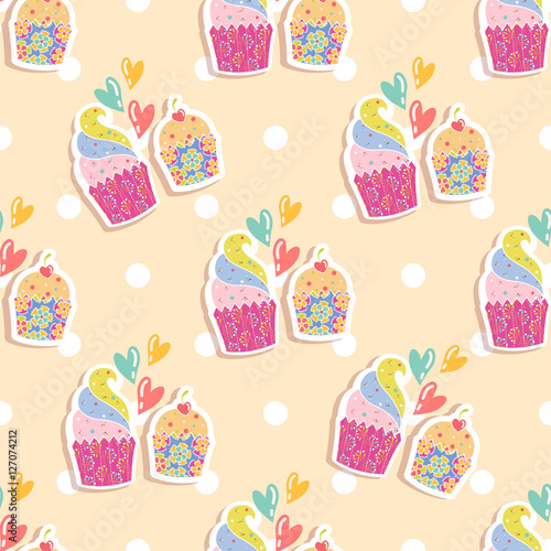 Papiers peints Hibou Seamless pattern with cakes on a beige background