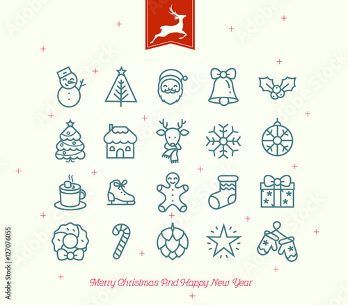 Fotobehang Hipster Hert Merry Christmas icon collection