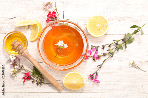 honey with flower and lemon Poster