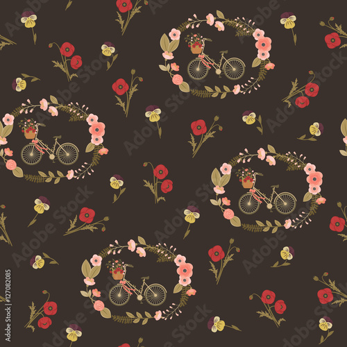 Cotton fabric Shabby chic seamless floral pattern