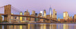 View to Manhattan skyline from Brooklyn Bridge Park in the morning