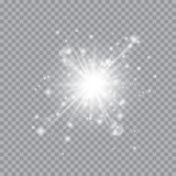 Fototapety Transparent White Glow light effect. Star burst with sparkles