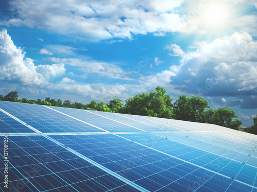 solar panels with sun and perfect sky Poster