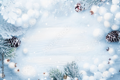 Foto Murales Christmas decoration with snow