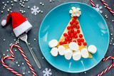 Santa hat pancake for breakfast - Christmas fun food art idea