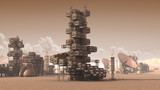 3D Illustration of a scientific settlement on an arid red planet with architectural structures, research crates and communication satellite dishes for planetary and space exploration backgrounds. - 127094407