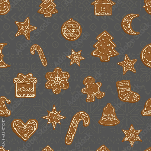 Cotton fabric Gingerbread christmas cookies pattern
