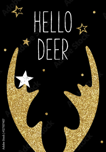 Hipster greeting Christmas card, deer antlers, gold glitter texture